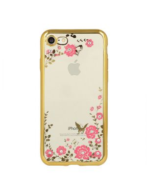 Ovitek silikonski za iPhone 7/8 | Back Case Flower Gold
