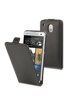 Preklopna torbica vertikalna za HTC One mini Črna videz usnja Muvit