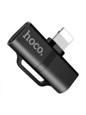 Adapter za polnjenje in slušalke x2 lightning | Hoco LS20 Črn