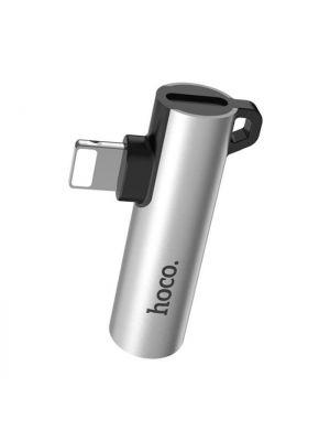 Adapter za polnjenje in slušalke lightning + 3.5mm | Hoco LS21 Srebrn