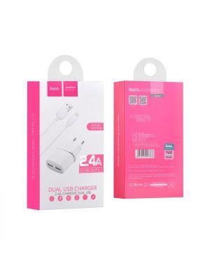 Polnilec s kablom Lightning 2.4A | Hoco C12 Bel
