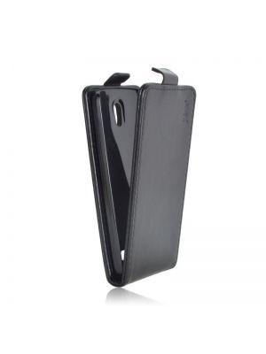 Ovitek vertikalna za HTC Desire 500 Črn videz usnja Preklopni