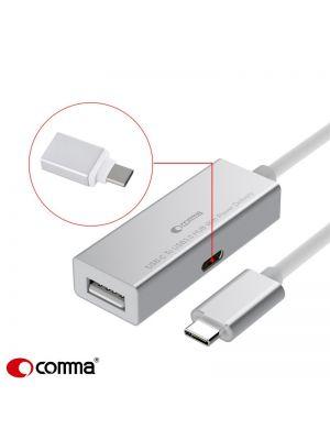 Adapter / Razdelilec z polnjenjem USB Type C na 2x USB 3.0 + 1x USB Type C SREBRN Comma