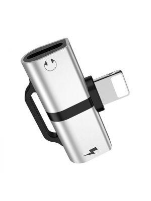 Adapter za polnjenje in slušalke x2 lightning | Hoco LS20 Srebrn
