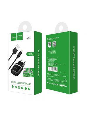 Polnilec s kablom Apple Lightning 2.4A | Hoco C12 Črn