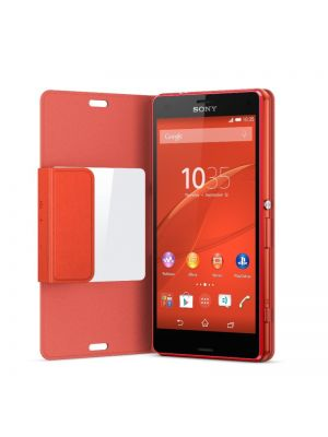 Ovitek Style Cover Window Original za Sony Xperia Z3 Compact Oranžen Preklopni