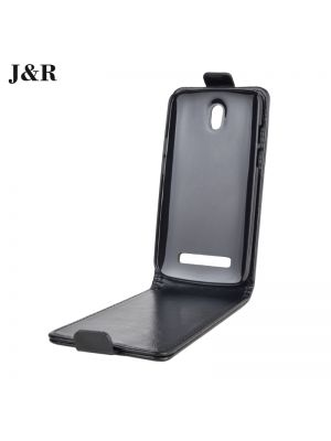 Preklopna torbica vertikalna za HTC Desire 510 Črna videz usnja