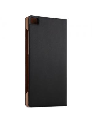 Preklopna torbica z okencem za Huawei P8 Črna videz usnja Original